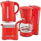 Alaska Frühstücksset 2209 | rot | 3 in 1 | Wasserkocher Toaster Kaffeemaschine | 12 Tassen | 1,7 L | Brötchen-Röstaufsatz | Auftau-, Aufback- und Unterbrechungsfunktion | Abschaltautomatik