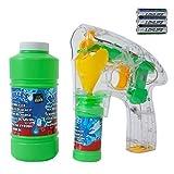 TE Trend Pistola della bolla pistola con LED e 450 ml Bolle di sapone Ricambio Liquido per ricarica - Turbo Pistola