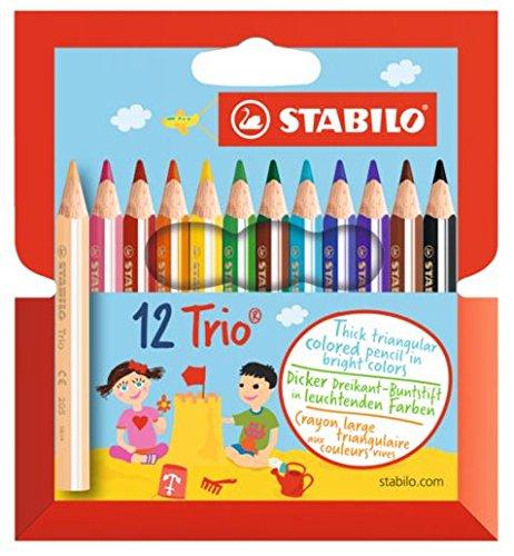STABILO Trio dick 12er Kartonetui kurz - Dreikant-Buntstift (5er Vorteilspack)