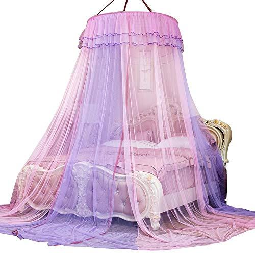 Bett Moskitonetz Baldachin Netting Vorhang Dome, Dual Color 360 ° Rund Canopy Spitze Prinzessin Stil Moskitonetz Bett Vorhang Netting(Pink+Purple) -