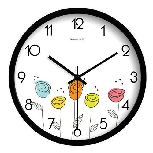 GLIU.Wall Uhren Wand Uhr Wohnzimmer Personalisierte Mode Uhren Uhr Kunst Stumm Hängende Uhren,Black-12inches