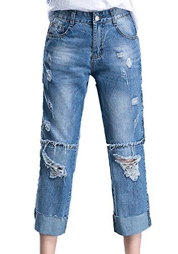 Distressed Denim Capris (Icegrey Damen Jeanhose Boyfriend Distressed Denim Hose Ripped Capri Ankle Jeans Blau 30)