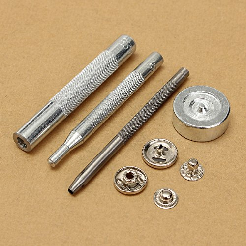 KING DO WAY 15mm Cuoio Kit Snap Fasteners Argento Pulsante
