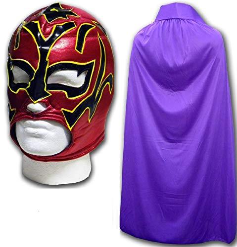 Estrella Fugaz Disfraz Adulto Luchador Mexicano Máscara de Lucha con / Lila Capa