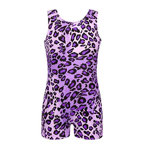 Freebily Mädchen Einteiler ärmellos Biketard Unitard für Gymnastik Sport Training Dancewear, Mädchen, Purple (Leopard), 7-8 (Biketard Kostüm)
