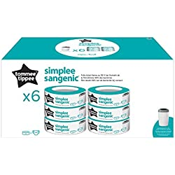 Tommee Tippee - Recharges pour Poubelle à Couches SIMPLEE Sangenic x6
