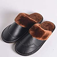 Men'S Winter New Leather Slippers Leather Home Indoor Non-Slip Soft Bottom Slippers Men'S Couple Warm Cotton Slippers Women