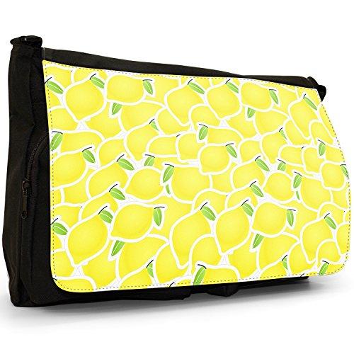 Frutta grande, colore: nero, unisex, in tela, borsa Messenger-Borsa a tracolla, per scuola, Borsa per computer portatile Lemon Fruit