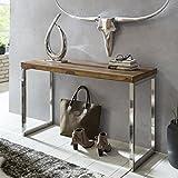 FineBuy Konsolentisch Massivholz Konsole mit Metallbeinen Schreibtisch 120 x 45