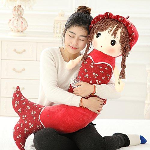 VERCART Puppe Tuch Doll Little Stuffed Spielzeug Interaktive Kinder Meerjungfrau Girl Junge Lernspielzeug Geburtstag Geschenk Rot 120cm