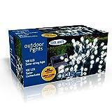 100er LED Solar Lichterkette Garten Kaltweiß