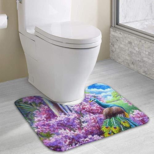 Hoklcvd Personalisierte Toilette Teppich-Beautiful-Elegant-Peacocks WC U-förmige MatCartoon weiche Matte Dusche Boden Teppich Badezimmer (Navy Zeitgenössische Teppich)