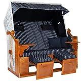 Möbelcreative Strandkorb Ostsee ROYAL XXL Volllieger - Extra Breit - 150 cm in blau weiß gestreift inklusive Schutzhülle, ideal für Garten und Terrasse