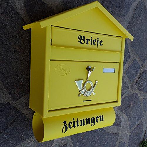 Großer Briefkasten / Postkasten XXL Gelb Matt mit Zeitungsrolle Zeitungsfach Spitzdach Zeitungsrohr...