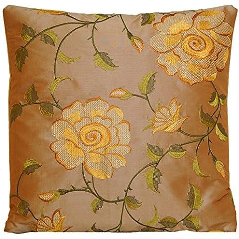 Yellow Rose Cuscino copertura floreale ricamato Tessuto