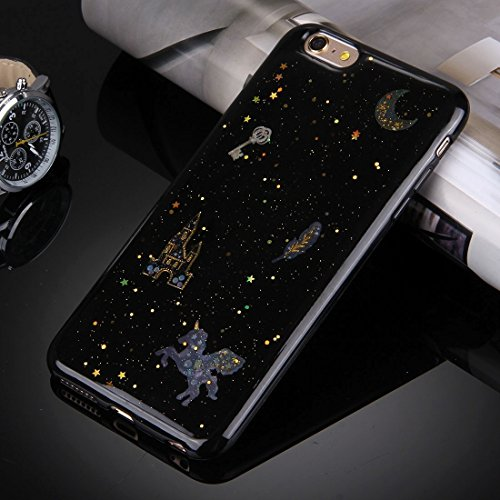 Pour iPhone 6 / 6s, Flash Powder Twinkling NightSky Premier quart de lune Pattern Soft TPU Housse de protection JING ( SKU : Ip6g3366c ) Ip6g3366b
