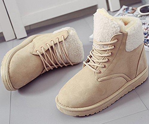 Minetom Damen Mode Martin Stiefel Winter Warm Baumwolle Schuhe Runde Zehe Schnee Stiefel Lace Up Boots Beige