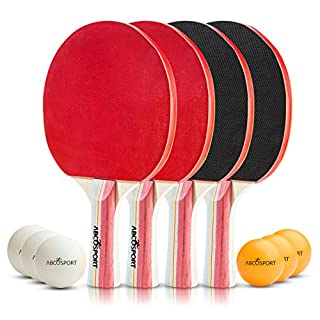 Abco Tech Table Tennis Set - Premium Paddles/Rackets and 6 Table Tennis Balls - Soft Sponge Rubber - Ideal for Professional & Recreational Games - 2 or 4 Players - Perfect Set On The Go