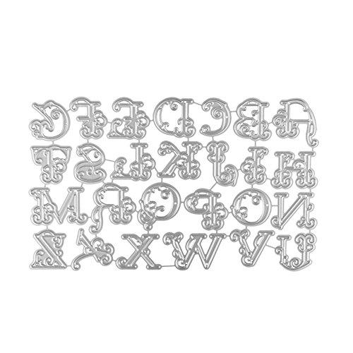 WOZOW Fustelle per Scrapbooking Grandi Lettere Metallo Taglio Muore Stencil Template Stampo Goffratura #0410b, Accessori per Big Shot e Altre Macchina