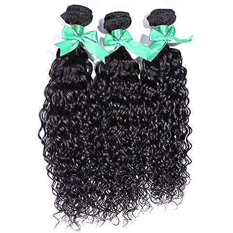 Meydlee Extension Posticci 6a 100% capelli umani 3 fasci 300 grammi acqua onda capelli estensioni , 16 18 20