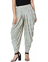 Blue Printed Dhoti Pants For Girls - Lycra Dhoti Pants For Women - Geometric Printed Harem Pants For Ladies -...