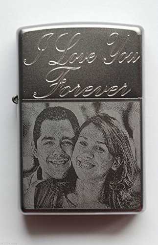 Personalizado Mechero Zippo Mensaje y grabado de imagen, Satin 1 side Message and Picture Engraved