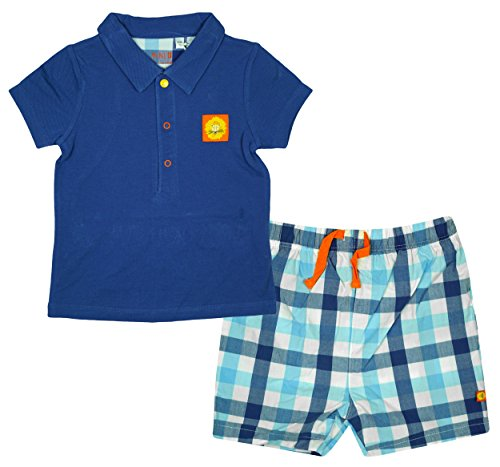 Baby Boys Lion Motif Polo T-Shirt Top & Check Shorts Set Sizes from Newborn to 12 Months