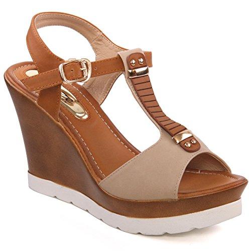 Unze Womens ' Fila ' sandali del cuneo della piattaforma Beige