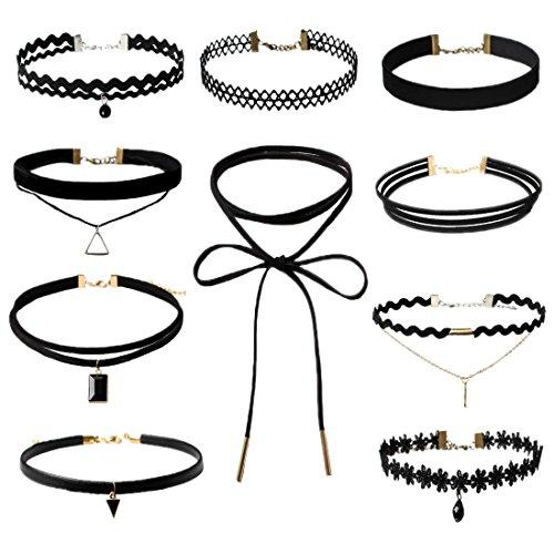 Wenseny 10 Stück Damen Hoker Halskette Velvet Spitze Choker Halsketten Tattoo Punk Gothic Halsband, Schwarz Schwarz