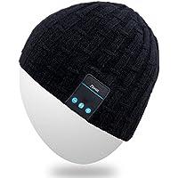 Mydeal lavabile musica di Bluetooth cappello di inverno morbido caldo lavorato a maglia di tendenza a breve Skully Beanie Cap W / cuffia senza fili cuffia stereo con microfono vivavoce per Excrise Gym Sport Fitness Corsa Sci - Nero