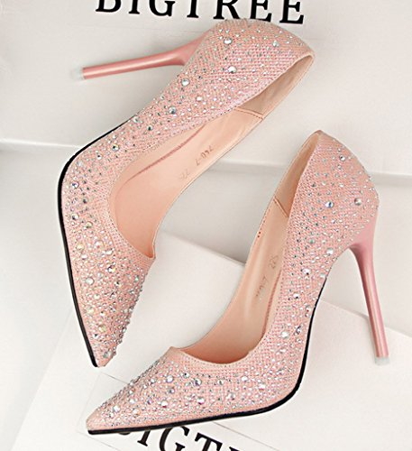 Minetom Donna Pointed Toe Scarpe Strass Stiletto Shoes Scarpe Col Tacco Da Sposa Lucide Scarpe Con Tacco Scarpe Rosa