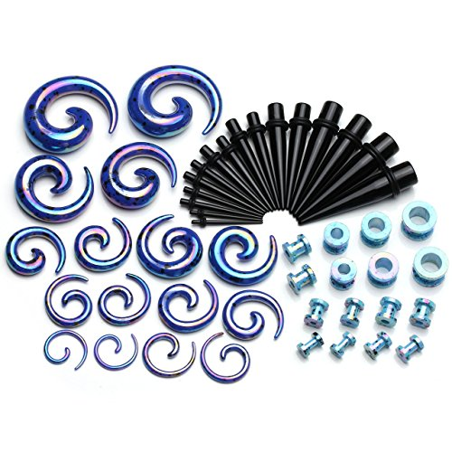 PiercingJ Ohrpiercing Ohrstecker Set 24 Paare Acryl Mix Spirale Schnecke Taper Splash Flesh Schraub Tunnel Set Tunnelset Dehnstab Dehnungssichel Dehnungsset Ohr Expander Piercing Set 2-12mm Stabstärke