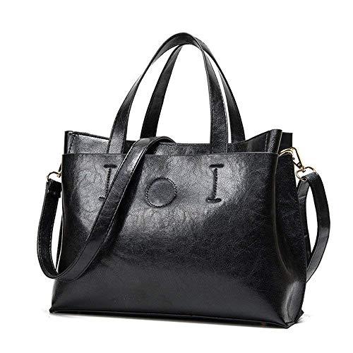 Big Bag Öl Wachs Leder Handtasche Pu Tasche Wild, rot (Farbe : Schwarz, Größe : -)
