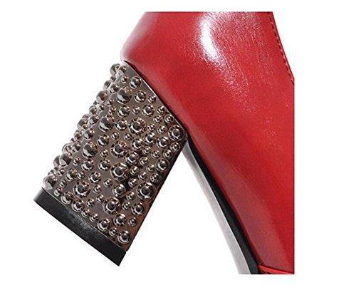 Souvent Avec Des Chaussures Bouche Peu Profonde Avec Des Talons De Femmes Chaussures En Métal Rouge