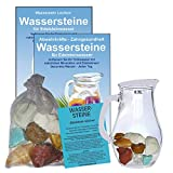 EDELSTEIN WASSER MAGEN & DARM 5-tlg SET. 300g WASSERSTEINE zur Wasseraufbereitung für Trinkwasser + 0,5 L Glaskrug Karaffe + Anleitung + Zubehör. 90043-1