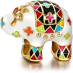 NINAQUEEN Charms Encaja con Pandora Joyas para Mujer Pulsera Elefante Animal Plata de Ley 925 Esmalte Abalorios Regalos Originales para Mujer niñas Madre Hija Esposa de cumpleaños