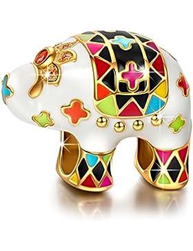 NinaQueen - Elefant - Damen-Charm 925 Sterling Silber (Fröhliche Familie Serie)