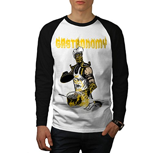 Gastronomie Koch Koch Töten Herren NEU Weiß (Schwarz Ärmel) XL Baseball lange Ärmel T-Shirt | Wellcoda