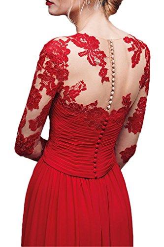 Victory Bridal Wunderschoen Rot Spitze Applikation Abendkleider Ballkleider Langarm Celebrity Kleider Lang Rot