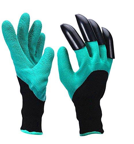 Gants de Jardin pour Creuser et Plantation, Skitic Durable Anti maillant Sûr Garden Gloves avec Creuser Griffes