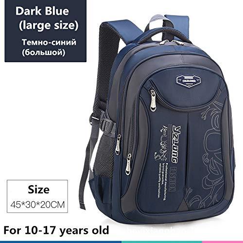 Schultasche für Kinderrucksack-Tasche Kinderschulsack Teen Junge Mädchen Hohe Kapazität wasserdichte Ausrüstung Kinderschultüte Mochila Big Dark Blue