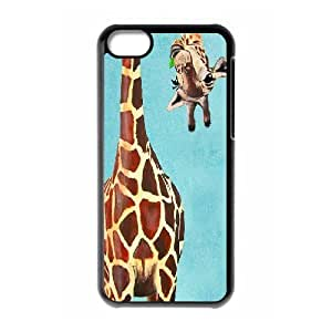 Giraffe Series, IPhone 5C Case, Animal Painting Portrait Painting Giclee Print Acrylic Painting Illustration Case for IPhone 5C [Black]