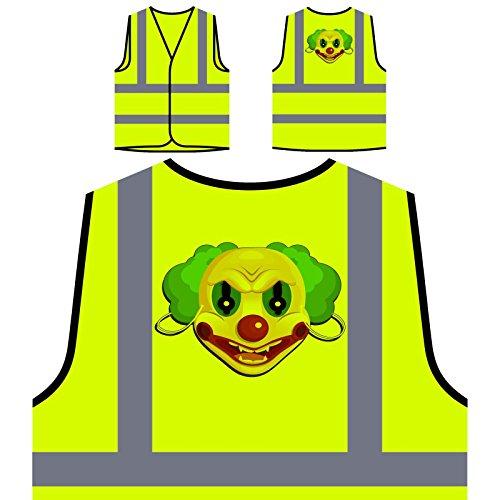 Böse Clown Maske Personalisierte High Visibility Gelbe Sicherheitsjacke Weste (Personalisierte Maske)