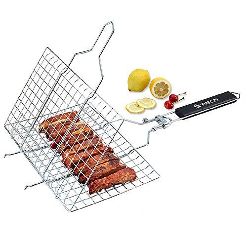 llkorb Grillwender Edelstahl Grillrost für Fleisch Fisch Steak Wurst Gemüse ()
