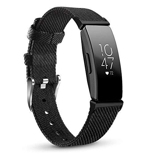 Armband Kompatibel Fitbit Inspire/Inspire HR, Gewebe Gurtband Schnellverschluss Ersatz verstellbare Armbänder für Fitbit Inspire & Inspire HR, Groß, Schwarz mit schwarzem Anschluss - Ersatz-gewebe