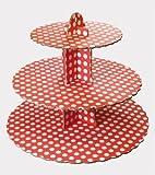 Cupcakeständer, 3 Etagen, 33 x 36cm, Rot mit weißen Punkten