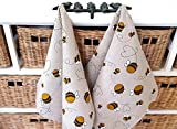 Handgefertigt Leinen Baumwolle Besetzte Bienen Küchenhandtücher - Handmade Linen Cotton Busy Bees Tea Towels Kitchen Towels Dish Towels.