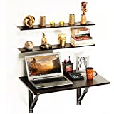 BLUEWUD Hemming MDF Wood Folding Wall Mounted Table with Shelves, 31.5x24x16.5 Inches (Brown, ST-HES-W)