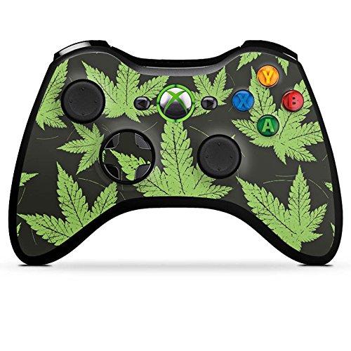 microsoft-xbox-360-controller-case-skin-sticker-aus-vinyl-folie-aufkleber-hanfblatt-weed-gras-grun