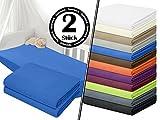 Jersey-Spannbetttuch in Top-Qualität - mit einer Steghöhe von ca. 35 cm - 100% Baumwolle - erhältlich in 6 verschiedenen Größen und 12 ausgesuchten Farben, 1 Pack (2 Stück) - Jersey-Spannbetttücher ca. 70 x 140 cm, royal
